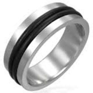 NEW Ring STAINLESS STEEL Men Women Unisex Rubber